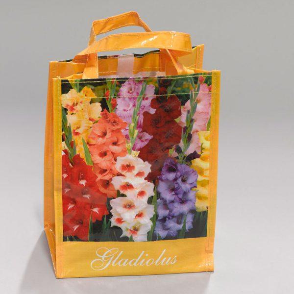 tas met gladiolen