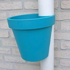 bloempot voor aan regenpijp turquoise