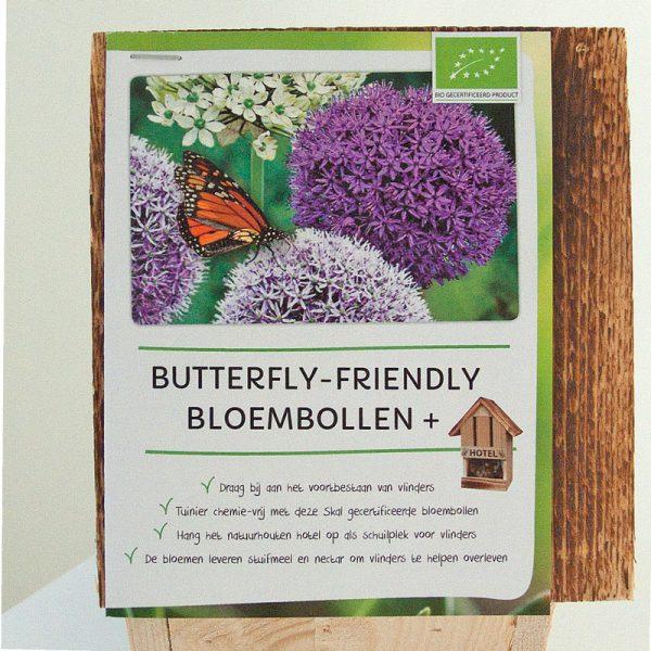 vlinderhotel met Allium Paars en Wit boekje