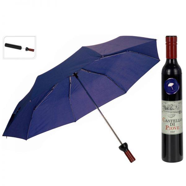 paraplu in wijnflesverpakking blauw