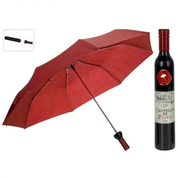 paraplu in wijnflesverpakking rood