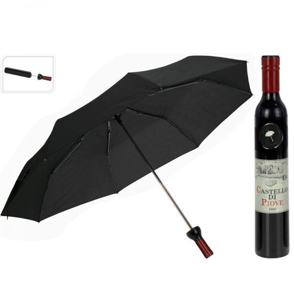paraplu in wijnflesverpakking zwart
