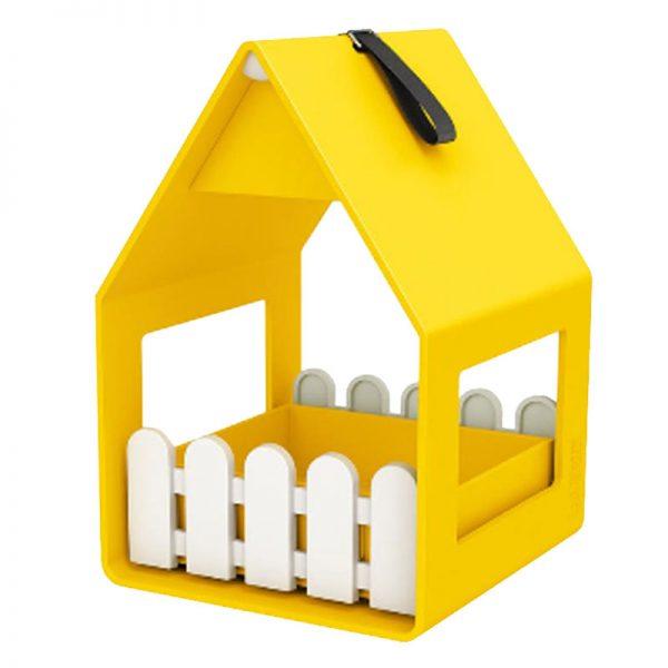 vogelvoederhuisje landhaus geel