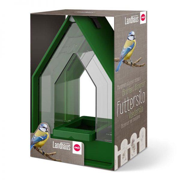 vogelvoer dispenser Landhaus groen in verpakking