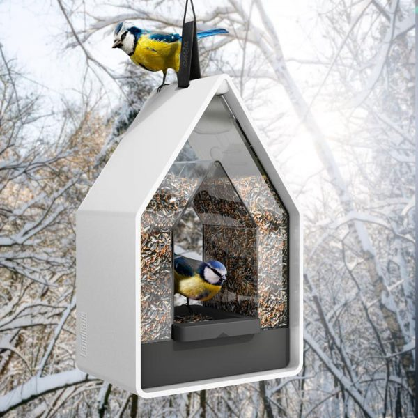 vogelvoer dispenser Landhaus wit in natuur