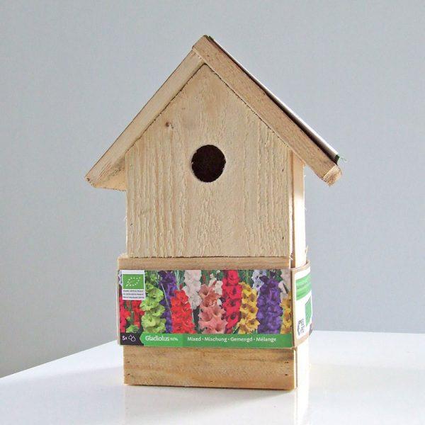 vogelhuis met gladiolen gemengd