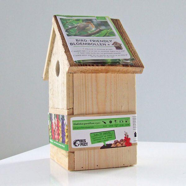 vogelhuis met gladiolen gemengd zijkant