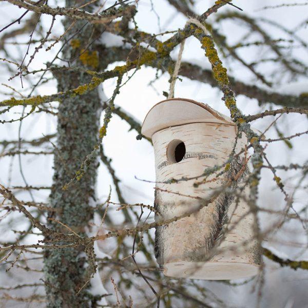 vogelhuis van berkenhout klein