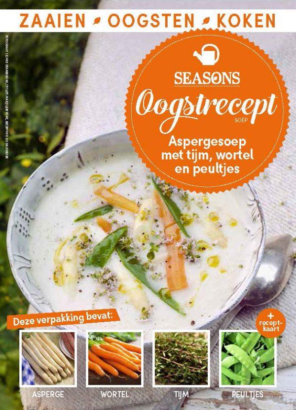 seasons oogstrecept aspergesoep met tijm wortel en peultjes