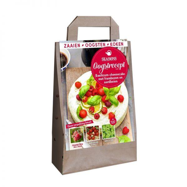 seasons oogstrecept basilicum-cheesecake met frambozen en aardbeien
