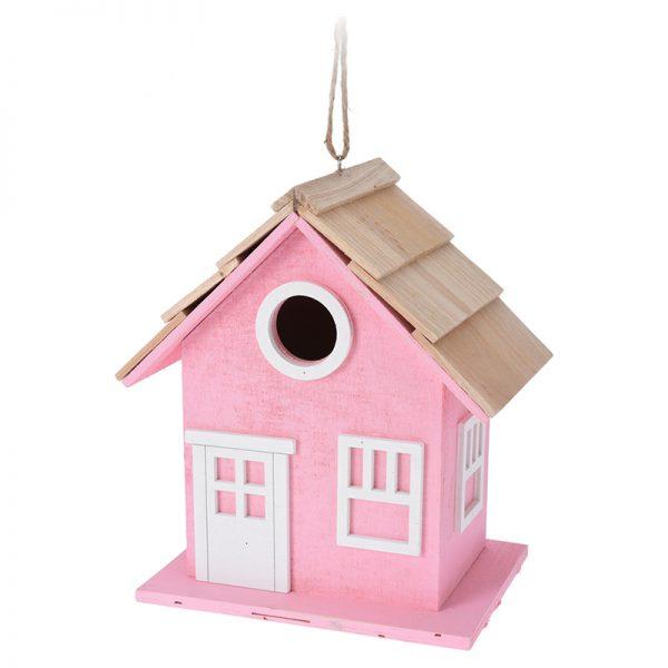 vogelhuis hout roze