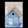vogelhuis hout zeeblauw icoon