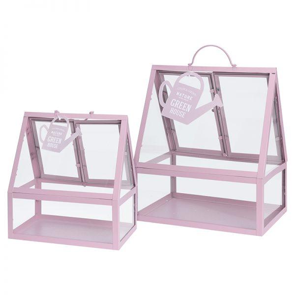 kweekkas metaal roze set